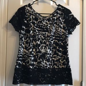 Black & white lace trimmed top